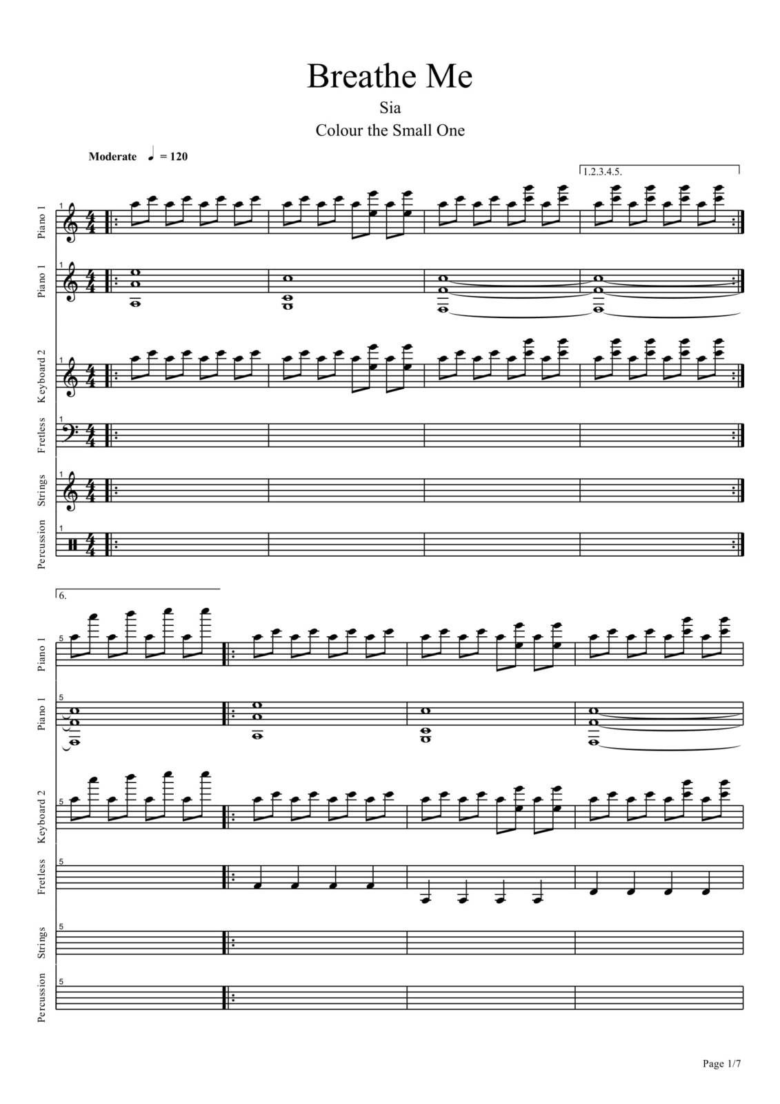 "Partitura Para Piano ""Breath Me"" 