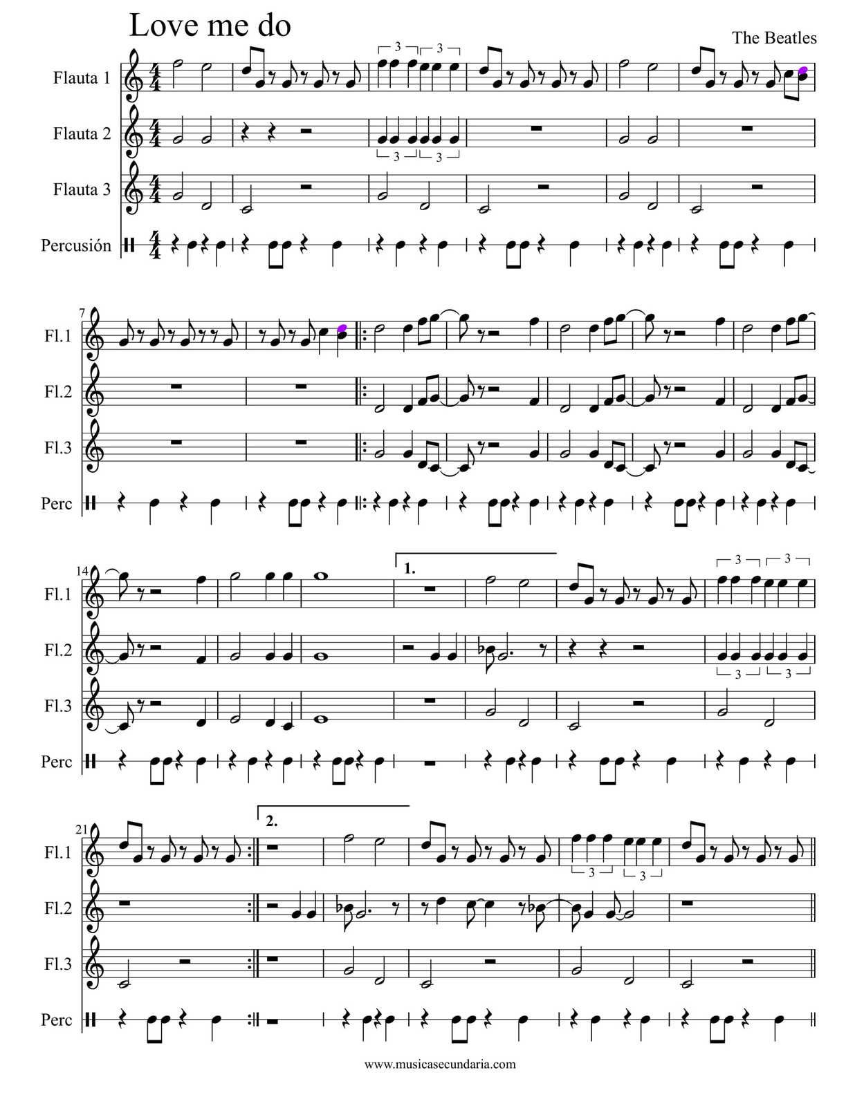 "Partitura de la Canción ""Love Me Do"" 