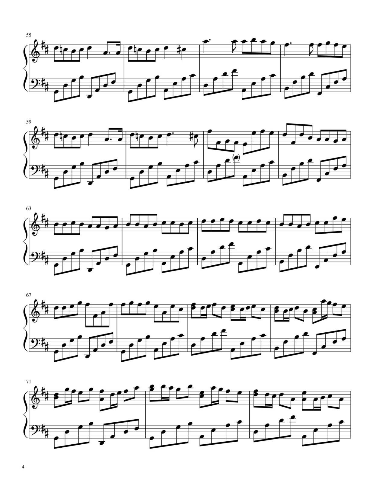 "Partitura para Piano ""Pachelbel"" (Canon in D) | Johann Pachelbel"