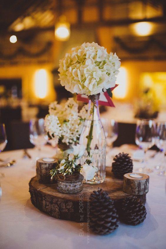 decoration table noel rondin de bois pomme de pin mariage
