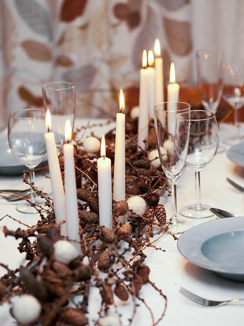 centre de table noel mariage branchages