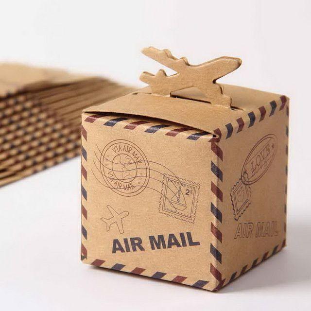 boite dragées air mail kraft