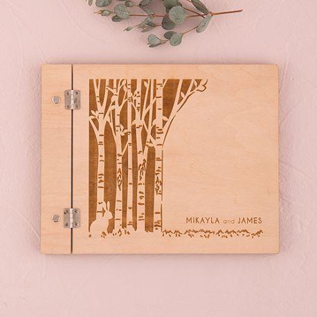 livre d'or personnalisé couverture bois arbre
