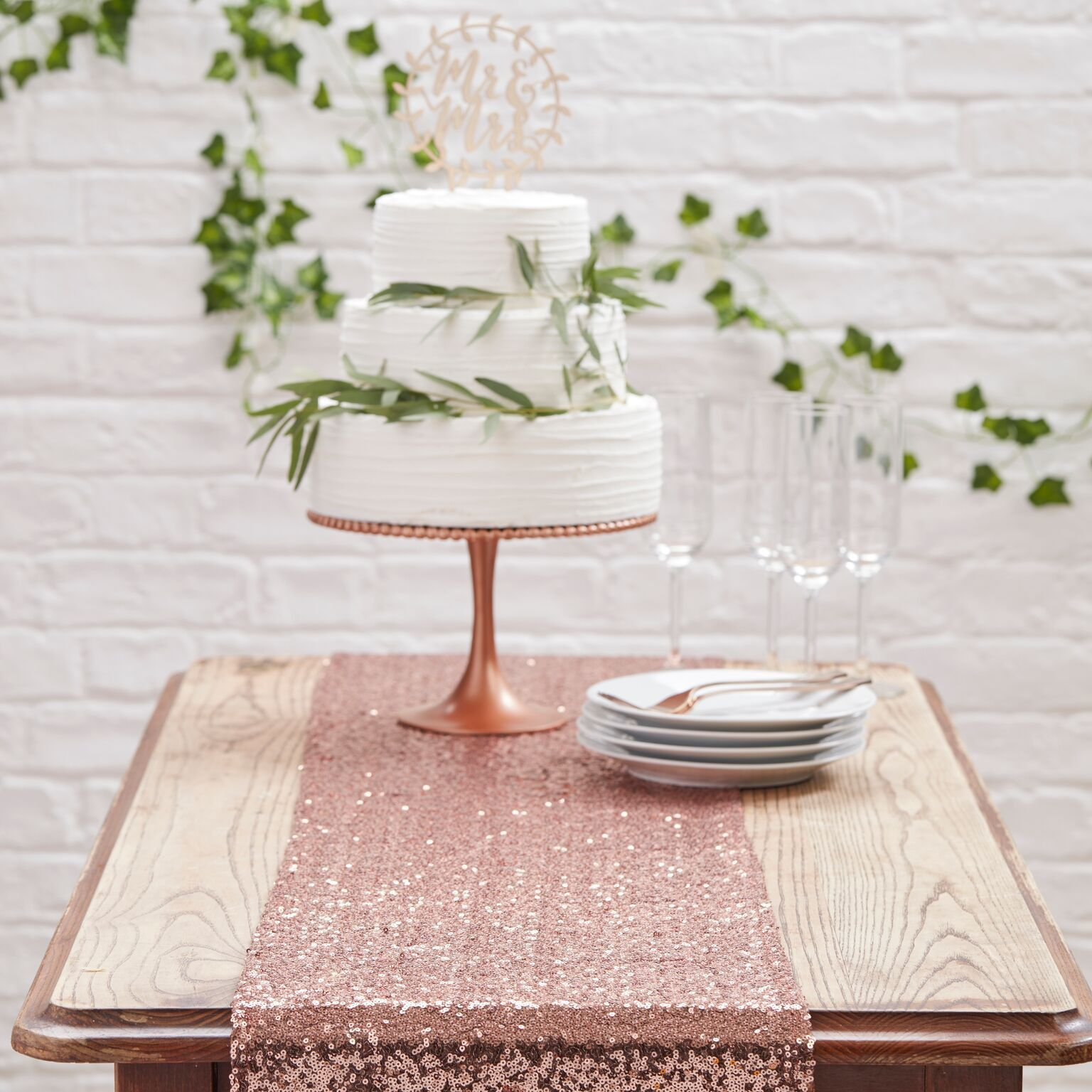 decoration table rose gold cuivre chemin table sequins
