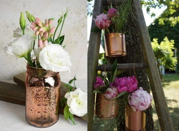 decoration table rose gold mason jar boite de conserve