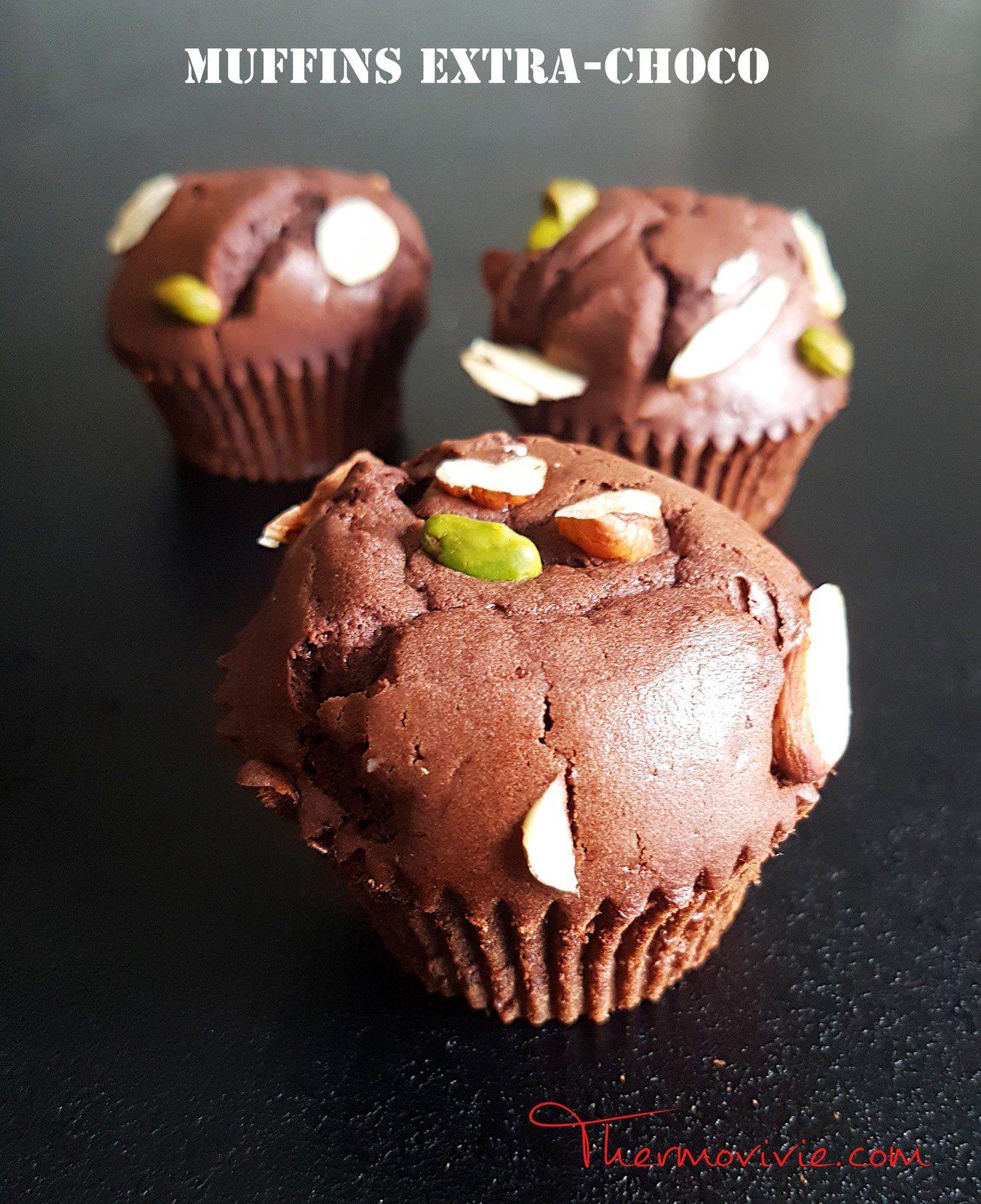 Muffins extra-choco, recette au Kitchenaid ou tout autre robot pâtissier