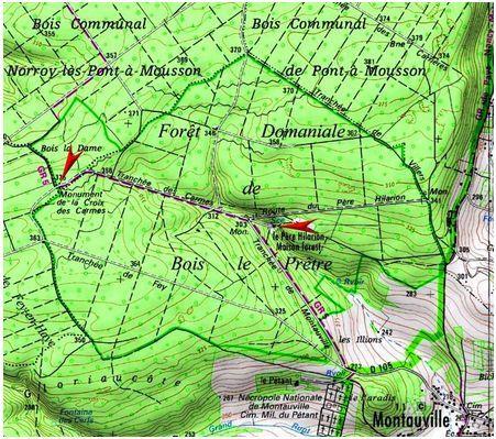"""La carte de la zone des combats du bois """"le prêtre""""  et la nécropole du PETANT"""