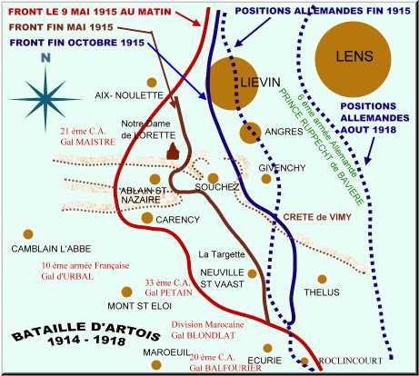 LA ZONE DE COMBAT DU 7 au 20 MAI 1915