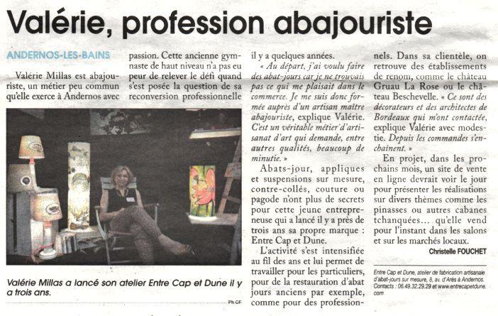 Article de presse paru le 10 juillet dans le courrier de gironde, par la journaliste Christelle Fouchet