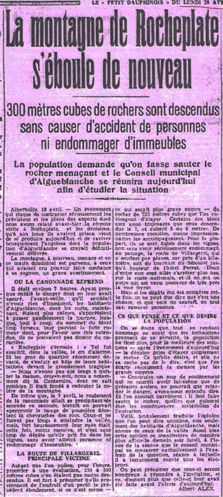 le petit dauphinois le 18 avril 1937