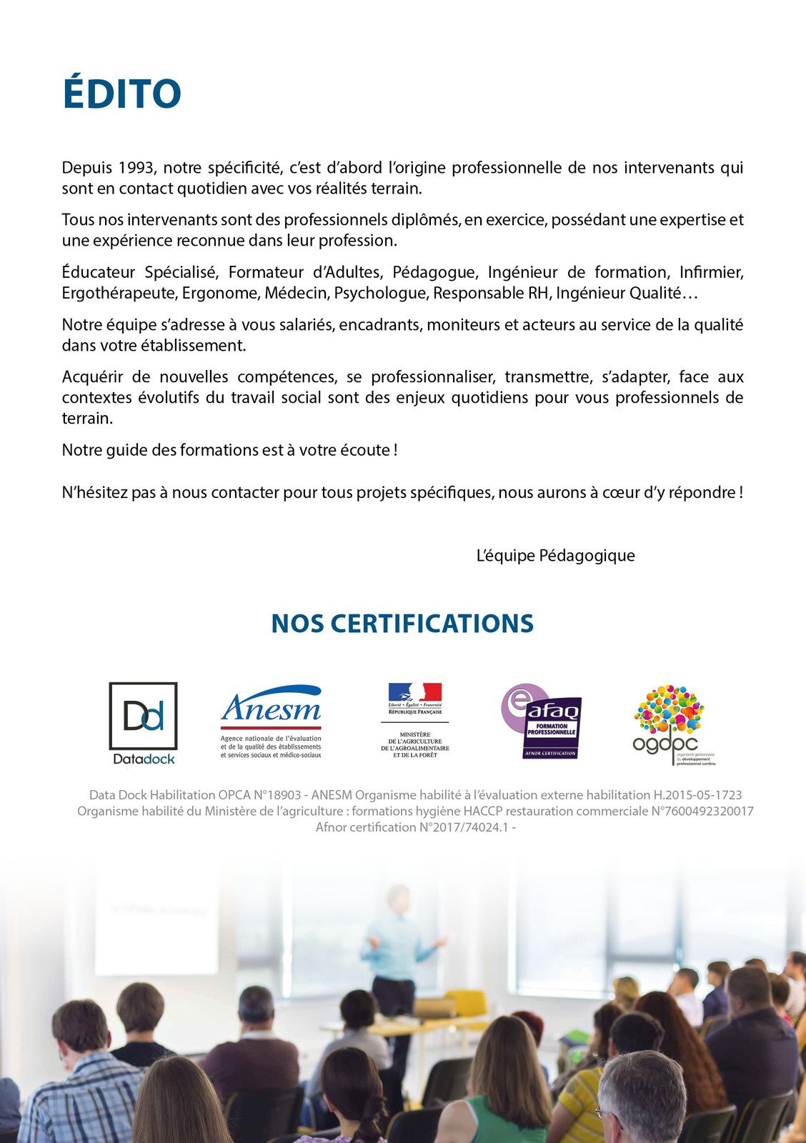 Formations des Moniteurs d'ateliers