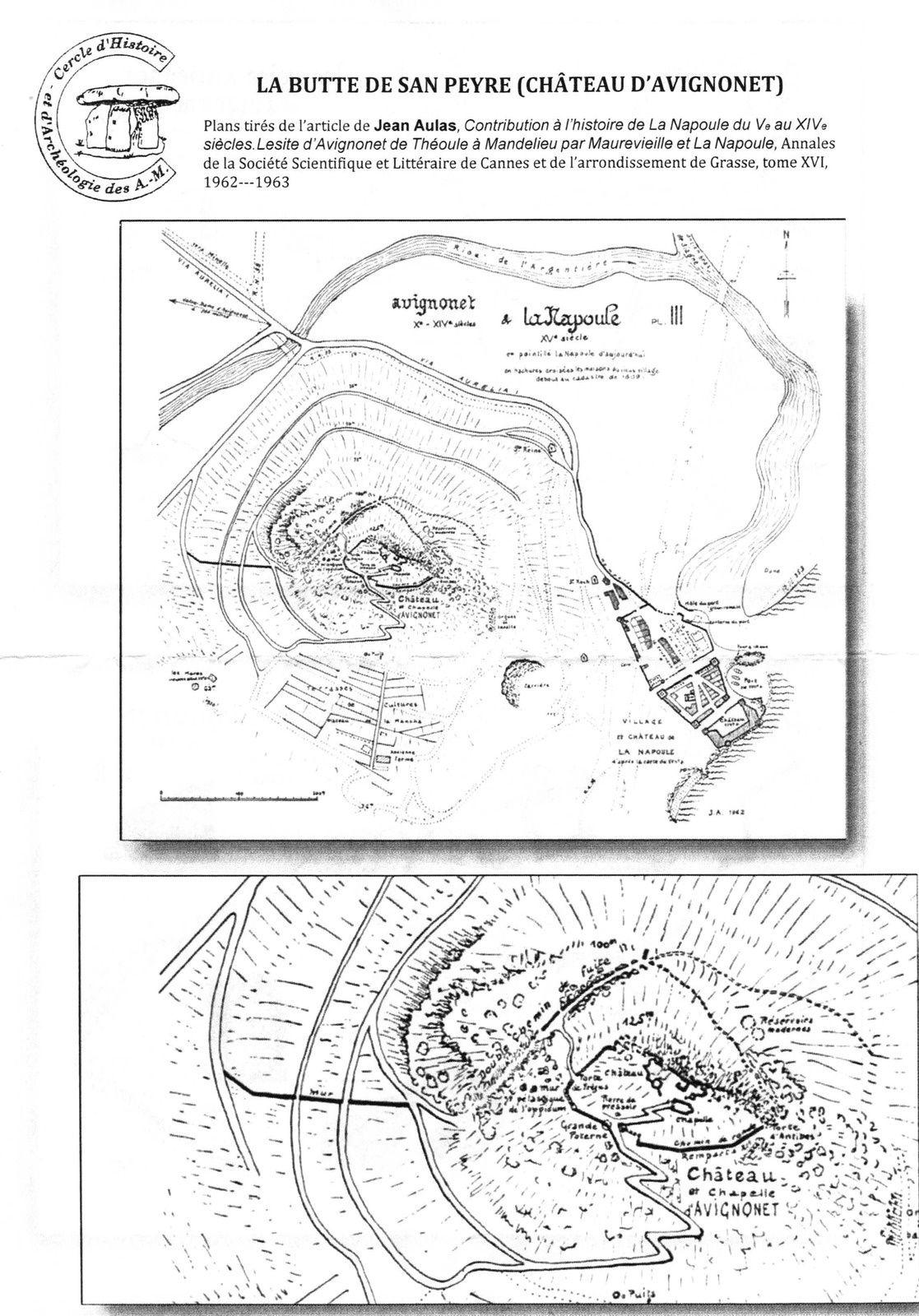 """Plans tirés de l'article de Jean Aulas, """"Contributions à l'histoire de La Napoule du Vè au XIVè siècles"""""""