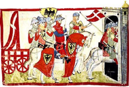 Chevaliers Hohenstaufen à l'assaut d'une ville.