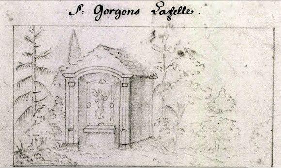 Oratoire de Saint-Gorgon, dessin de Silbermann. ( On distingue encore le tableau de Gorgon )