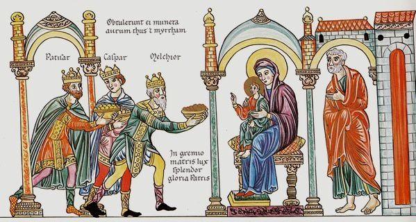 Les Rois Mages, dans l'Hortus Deliciarum