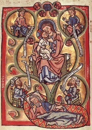 La généalogie du Christ selon la Bible et selon l'Hortus Deliciarum
