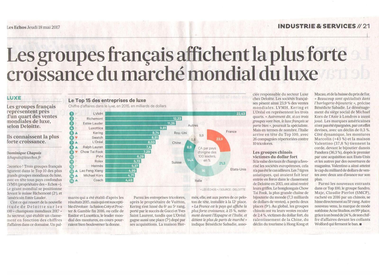 Vus et lus dans Les Echos du 18 mai 2017, et Mag'in France n° 4 de novembre - décembre 2016