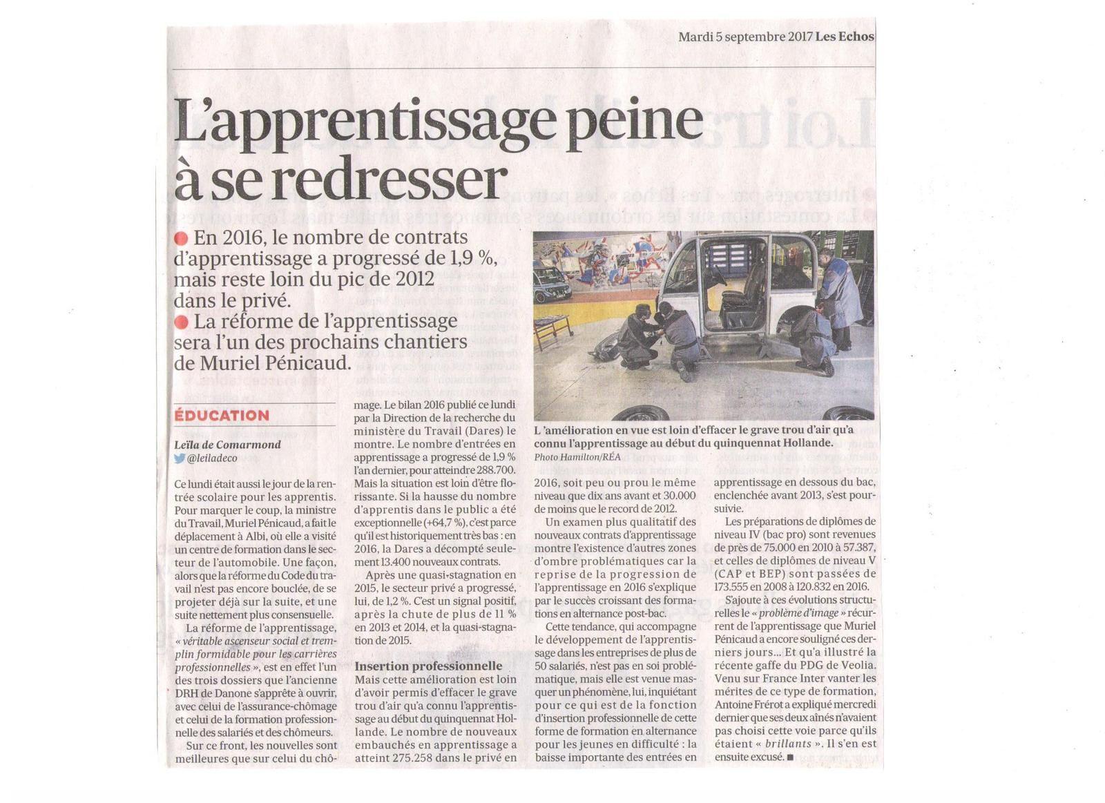 Vu et lu dans L'express du 14 juin 2017, et Les Echos du 05 septembre 2017