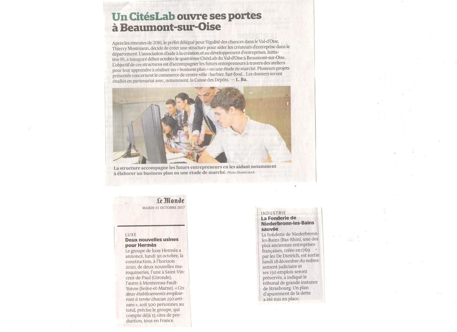 Vus et lus dans Le Parisien Eco du 03 novemvre 2017, Les Echos du 11 octobre et du 23 novembre 2017, et Le Monde du 31 octobre et du 20 novembre 2017