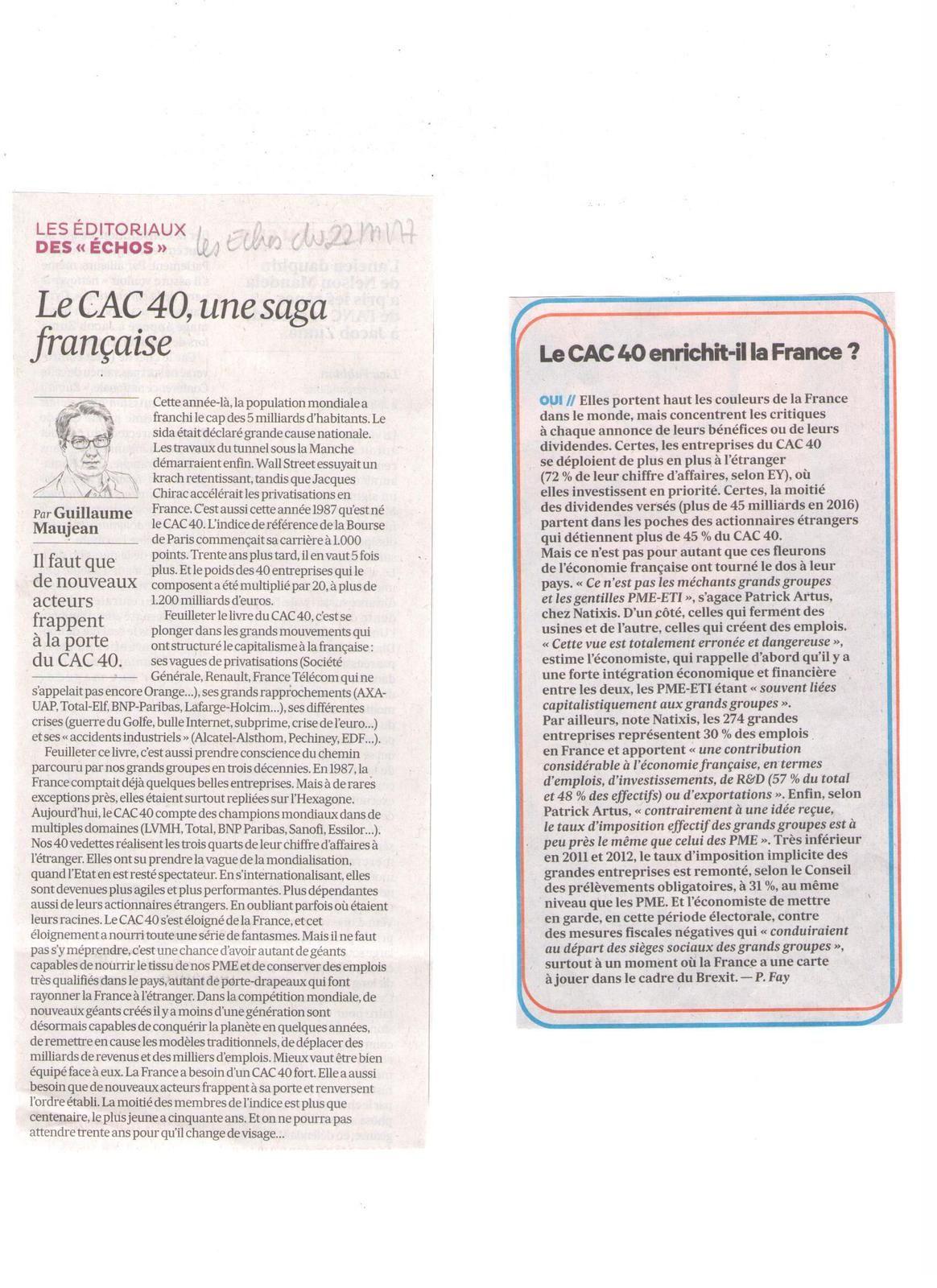 Vus et lus dans Les Echos du 28/03/17, du 22/11/17, du 02/01/18, du 29/01/18