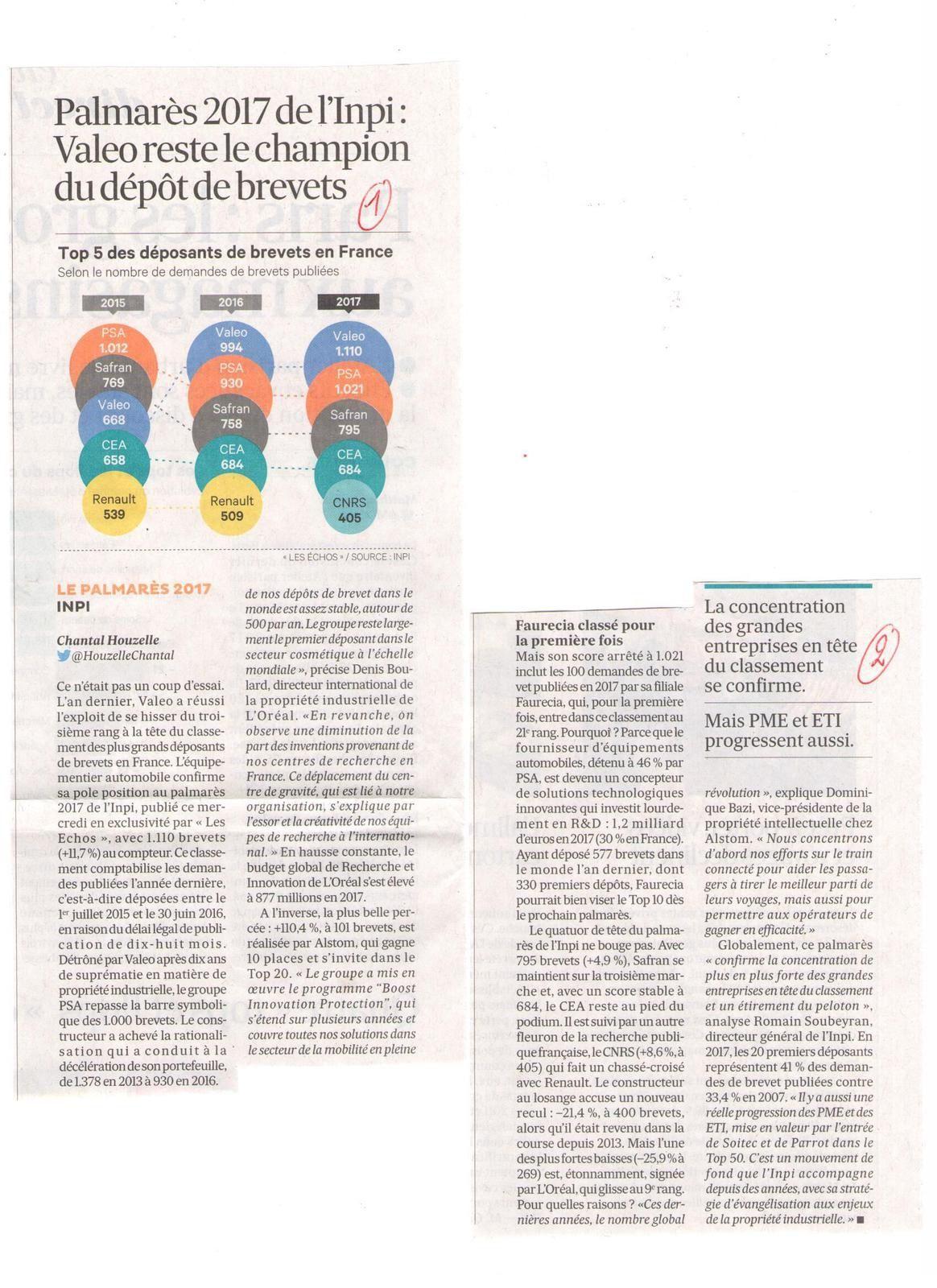Vus et lus dans Les Echos du 08/03/18, du 28/03/18, et du 06/04/18