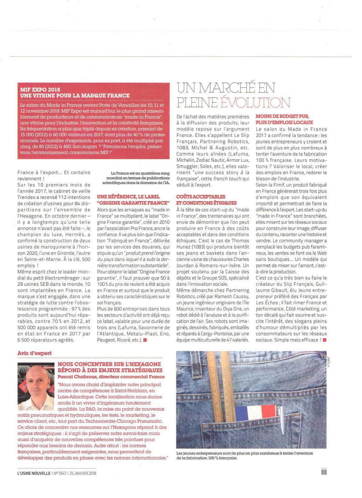 Vus et lus dans l'Usine Nouvelle n° 3547 du 25/01/18 et Univers Made in France n° 2