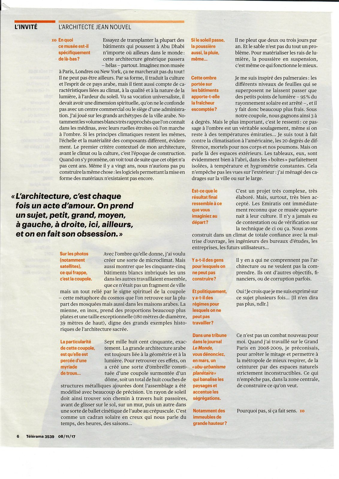 Vus et lus dans Télérama n° 3539 du 08/11/17, Les Echos du 06/12/17 et du 30/08/18