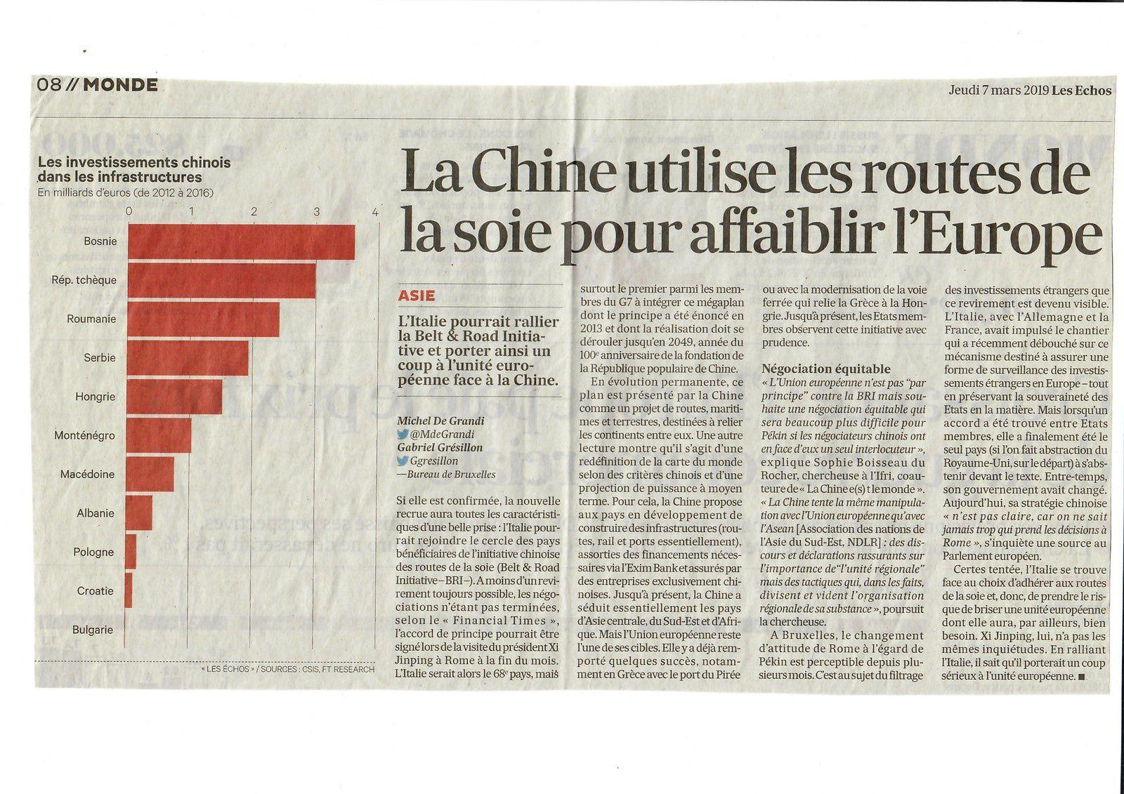 Vus et lus dans Le Monde du 27/02/19, et Les Echos du 07 & du 20/03/19