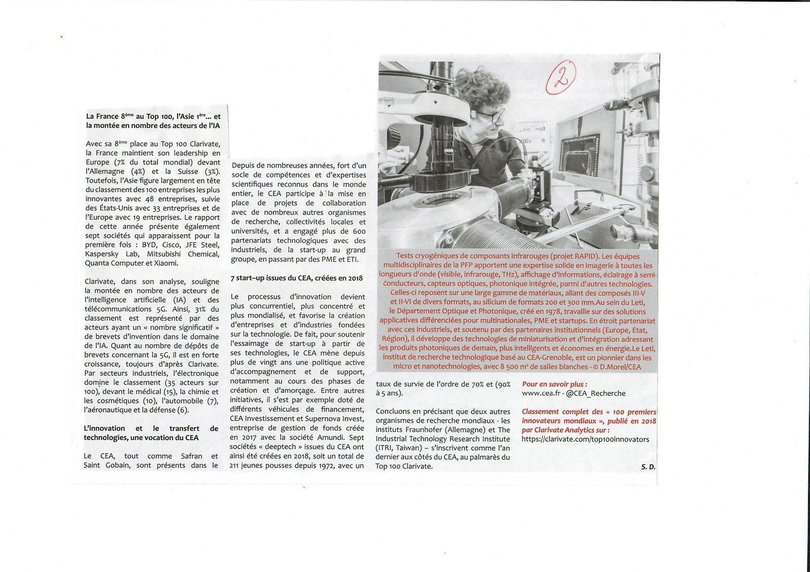 Vus et lus dans CEM n° 66 de février 2019, et La gazette du laboratoire n°253 de mai 2019