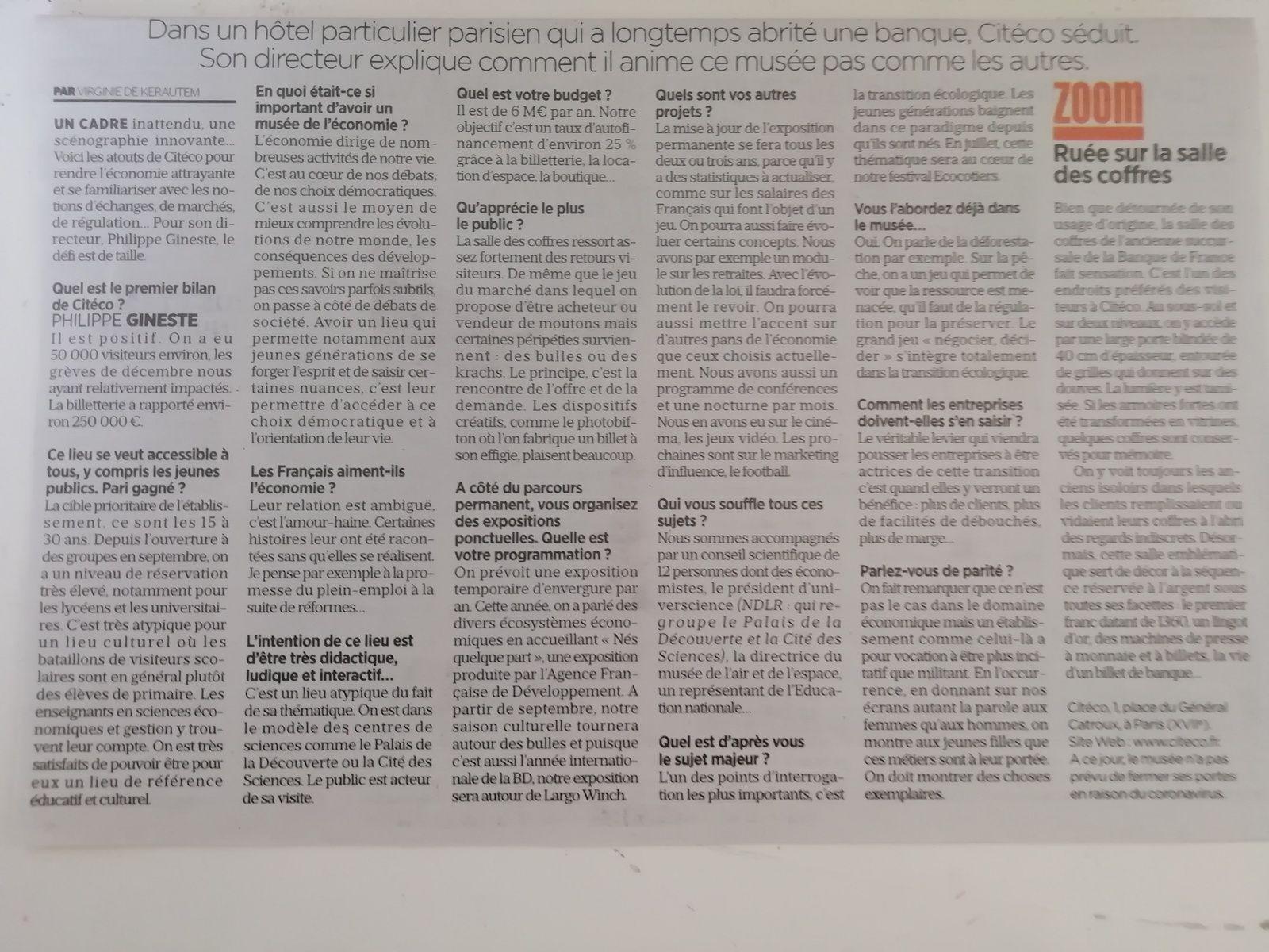 Vu et lu dans Le Parisien du 09/03/20