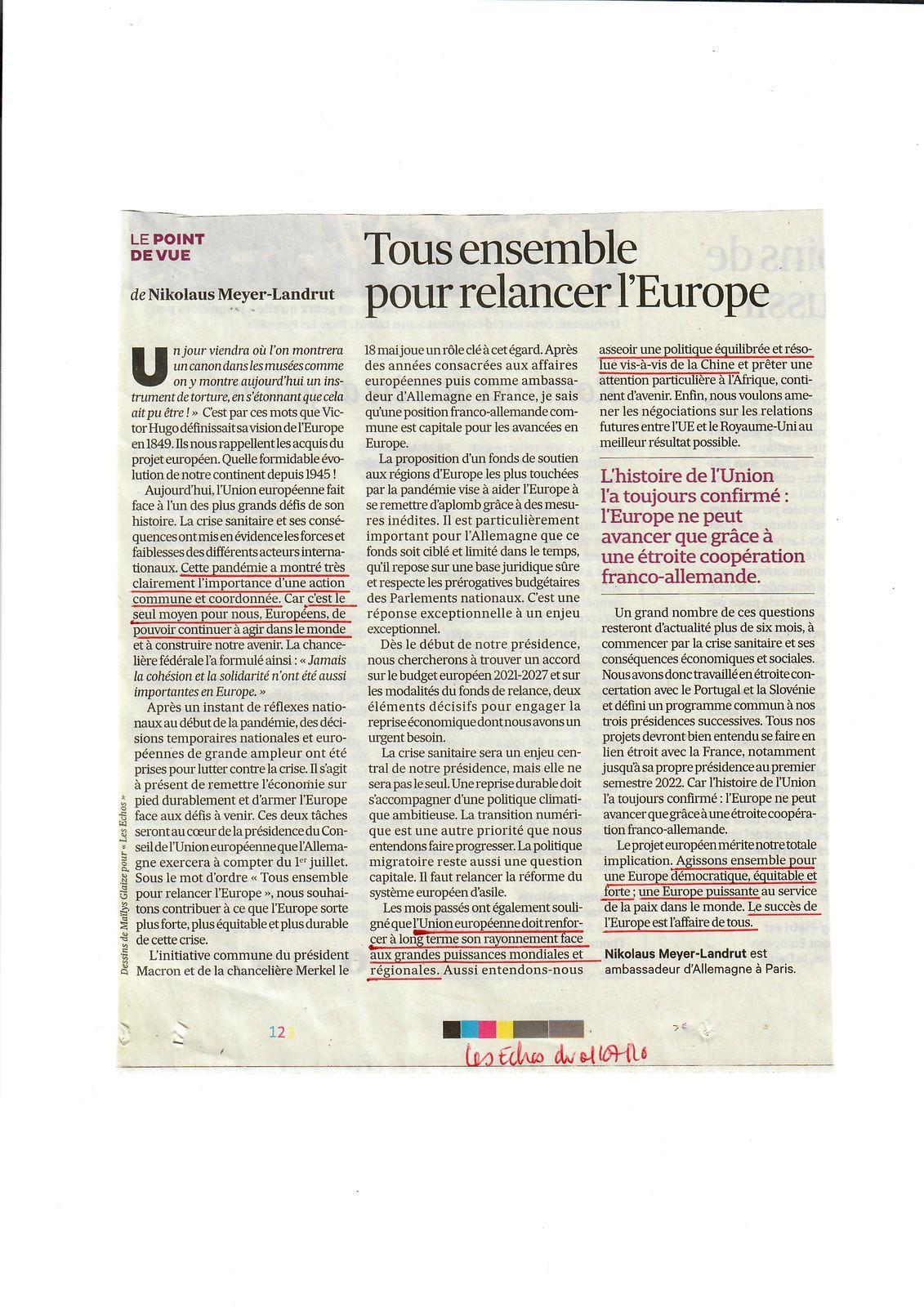 Vus et lus dans Les Echos du 30/06/20 et du 01/07/20