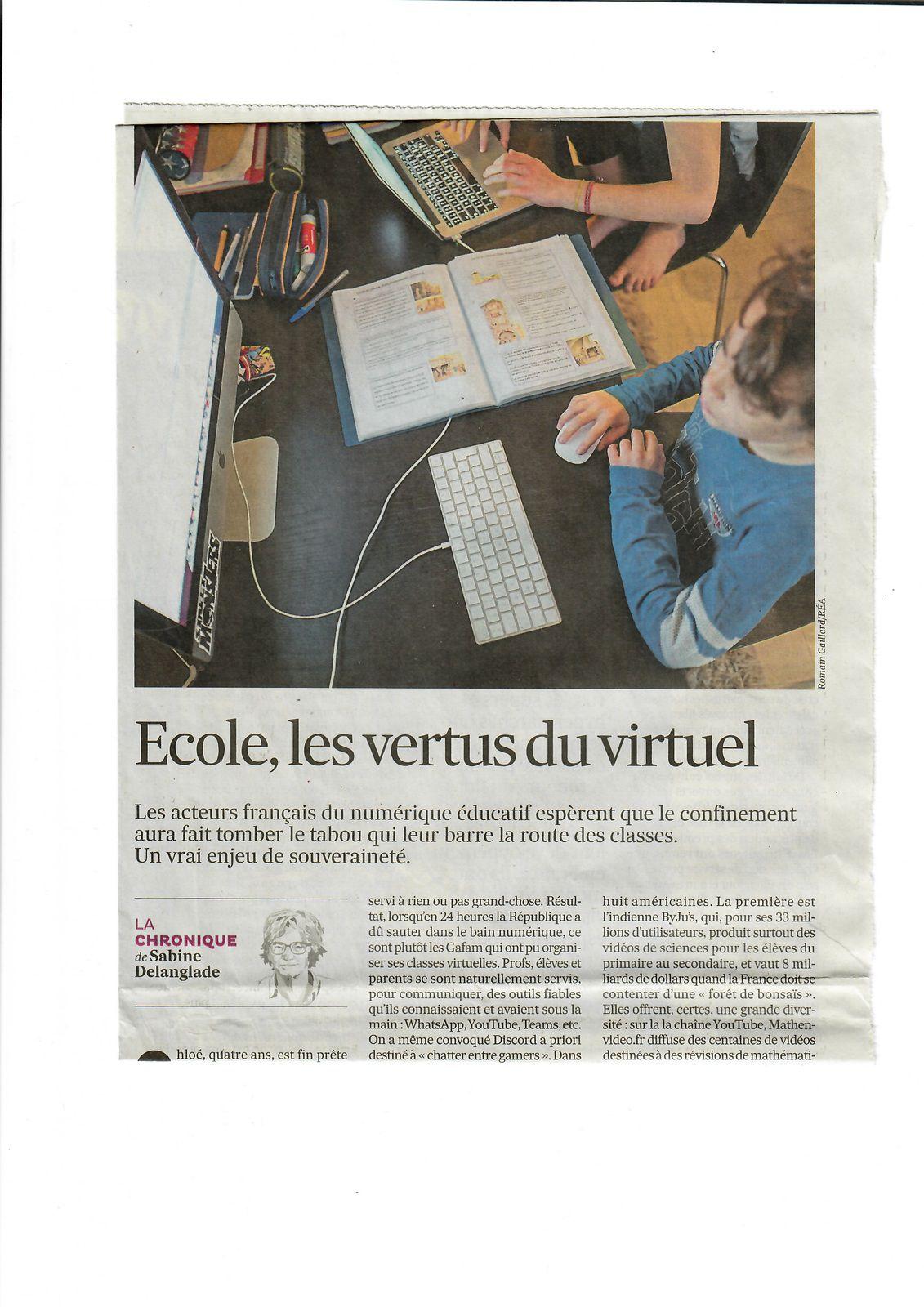Vu et lu dans Les Echos du 01/07/20