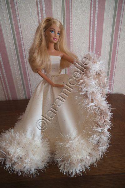 tuto gratuit barbie: robe princesse Chantilla, champagne et paillettes.