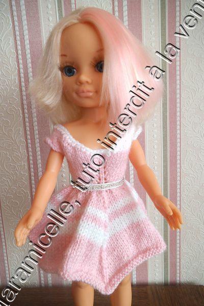 tuto gratuit poupée Nancy: robe estivale décolletée et bicolore