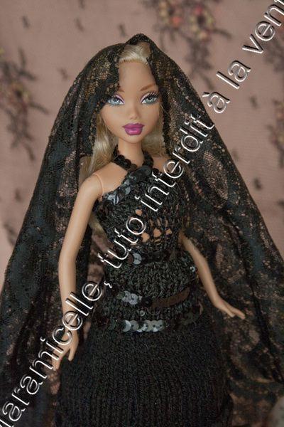 tuto gratuit barbie: robe noire à la mantille