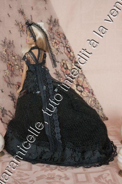 tuto gratuit barbie: chapeau et ombrelle de la petite robe noire à tournure