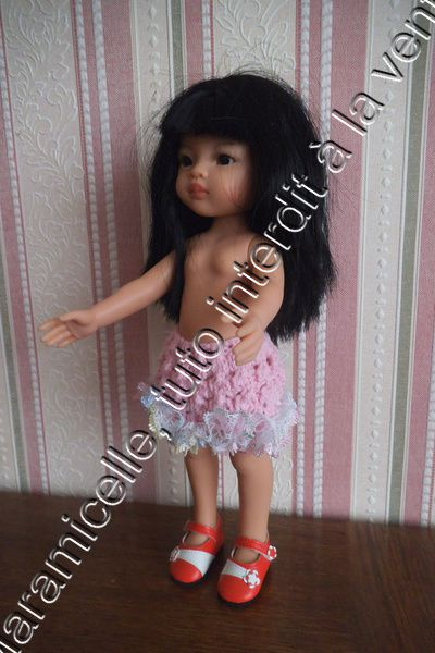 tuto gratuit poupée paola reina, chérie de corolle...: jupe côtes fantaisie et dentelle