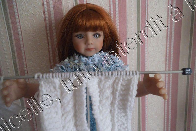 """tricot mon """"en-cours"""" pour poupée"""