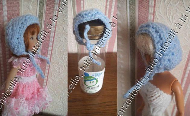 tuto gratuit barbie et petites poupées : petit bonnet 9, chapeau béguin