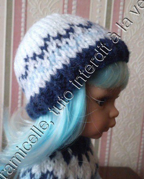 tuto gratuit poupée: bonnet blanc et bleu