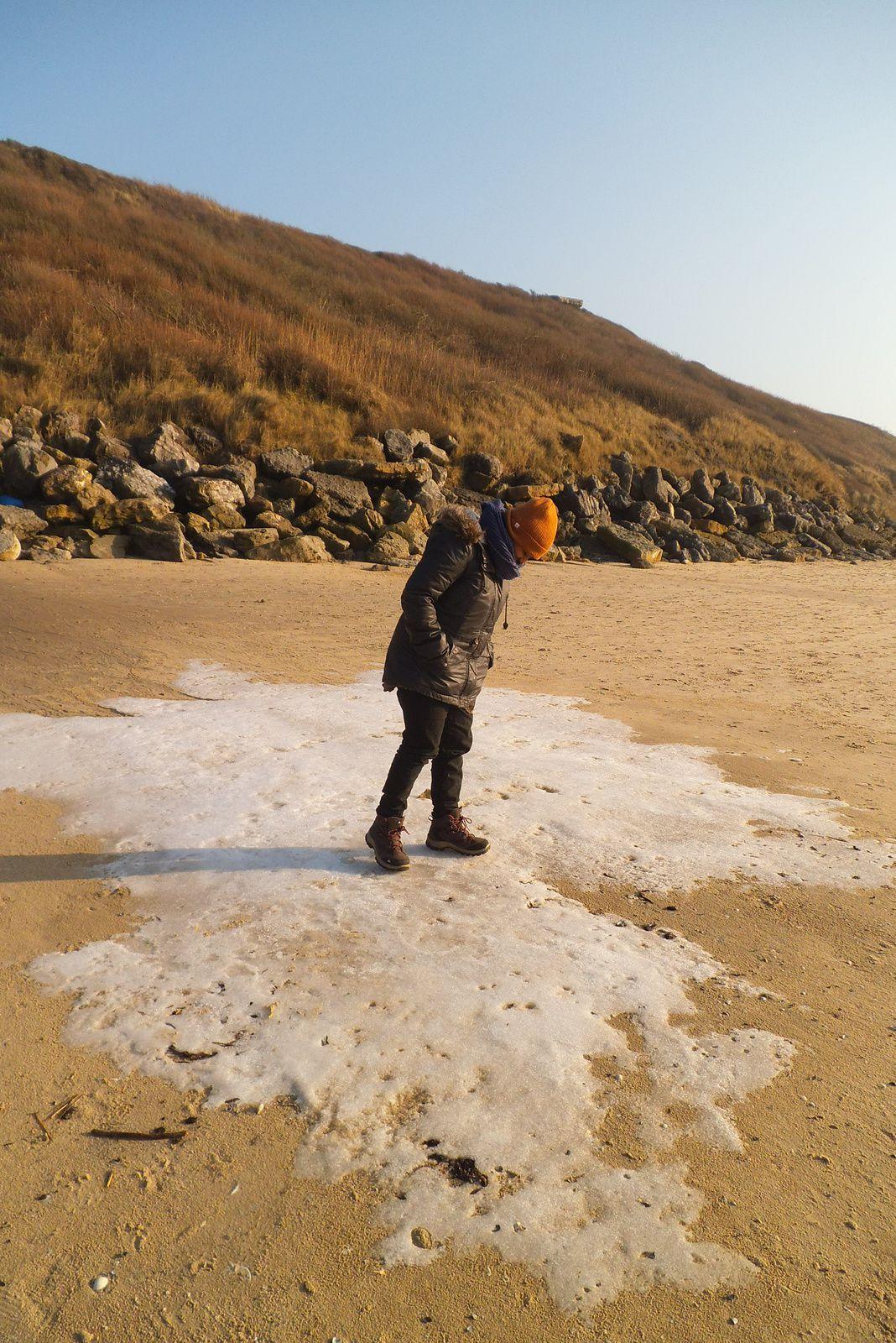 la plage était gelée