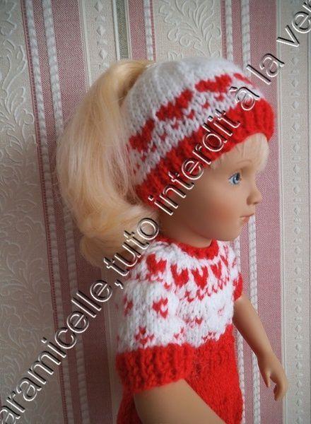 tuto gratuit poupée: bonnet ronde des coeurs; deux choix: bonnet ouvert ou fermé