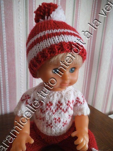 tuto gratuit poupée: bonnet à pompon bicolore pour tricoteuses débutantes