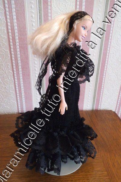 tuto gratuit Barbie : robe de soirée  avec dentelles
