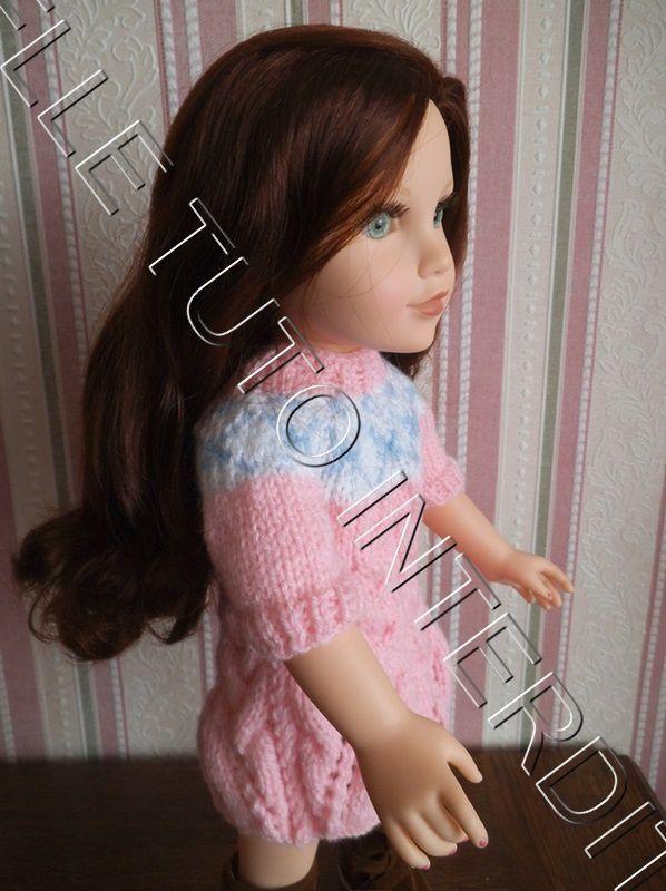 tuto gratuit poupée : robe tresses et jacquard
