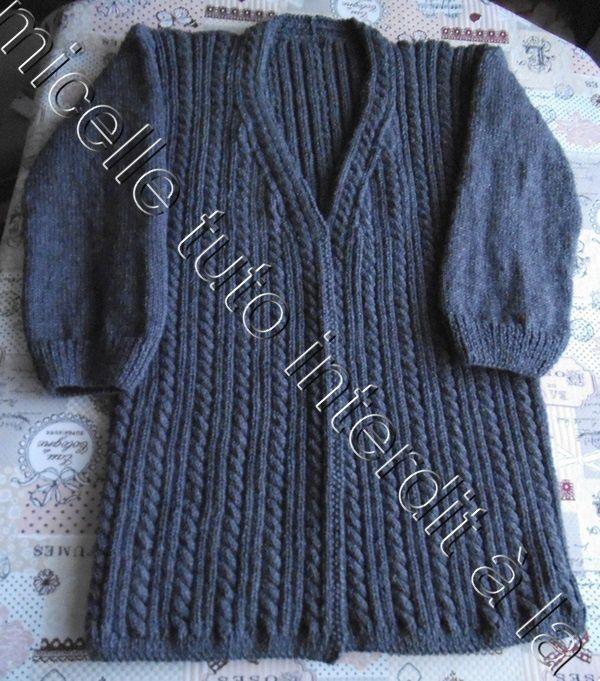 tuto gratuit veste  à torsades pour  femme ; taille XL