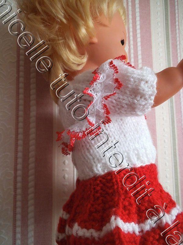 tuto gratuit poupée: pull  laine empiècement dentelle