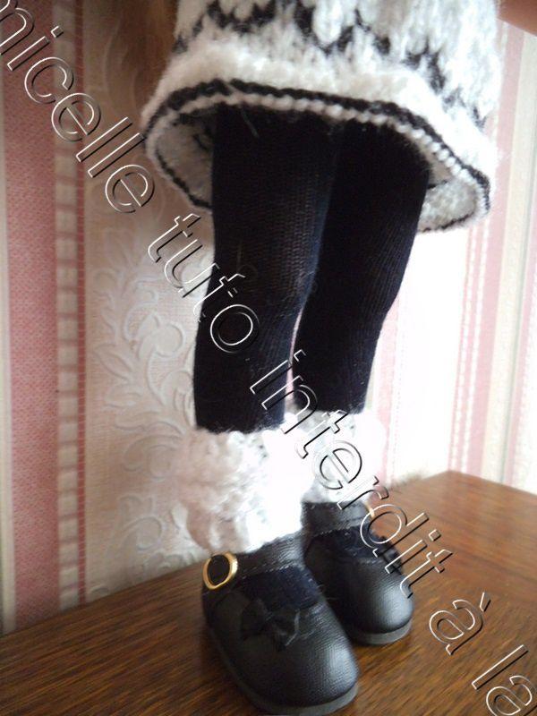 tuto gratuit poupée: collants et guêtres de danse  . niveau tricoteuses débutantes