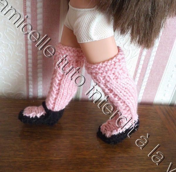 tutos gratuits poupée : bas -chaussures deux en un ; 2 modèles