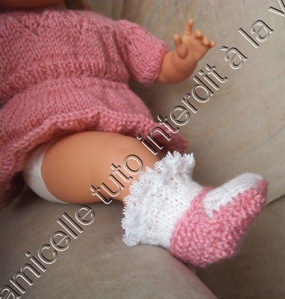 tuto gratuit poupée: chaussettes  - chaussures ; deux en un